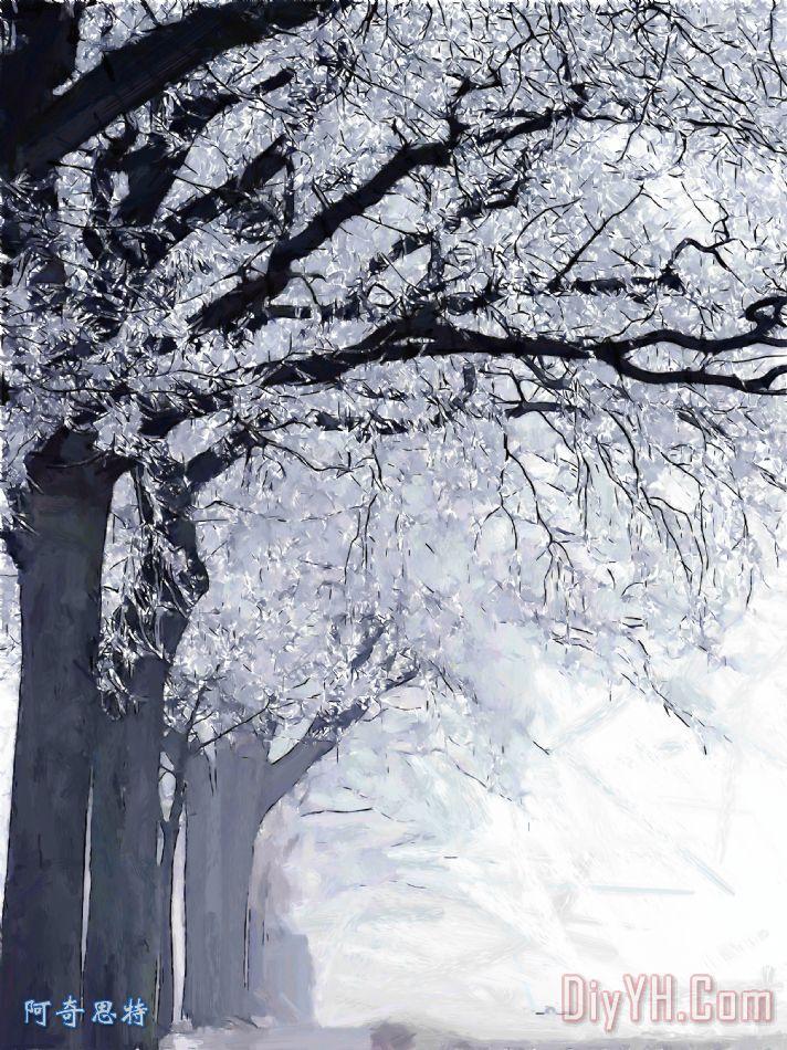 冬季在我们的街道装饰画