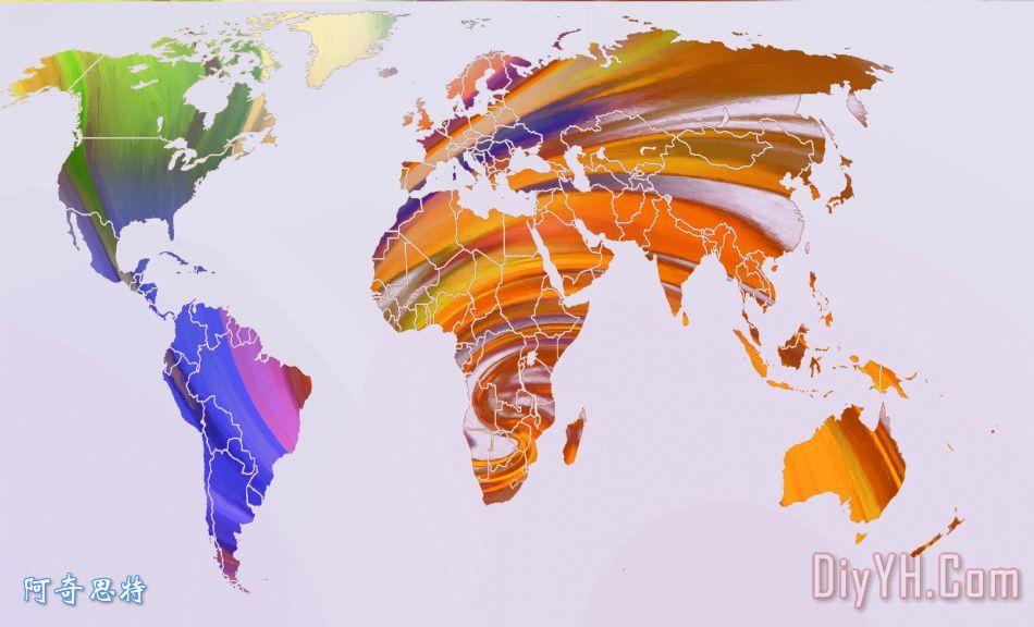 世界地图抽象彩绘