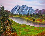 坠入山风景油画装饰画