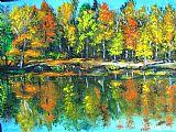 秋季多彩景观美式田园风格油画