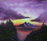 日落在山区原创油画装饰画