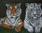 两只老虎油画中式风格装饰画