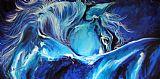 蓝色之夜摘要马沙发背景用画油画