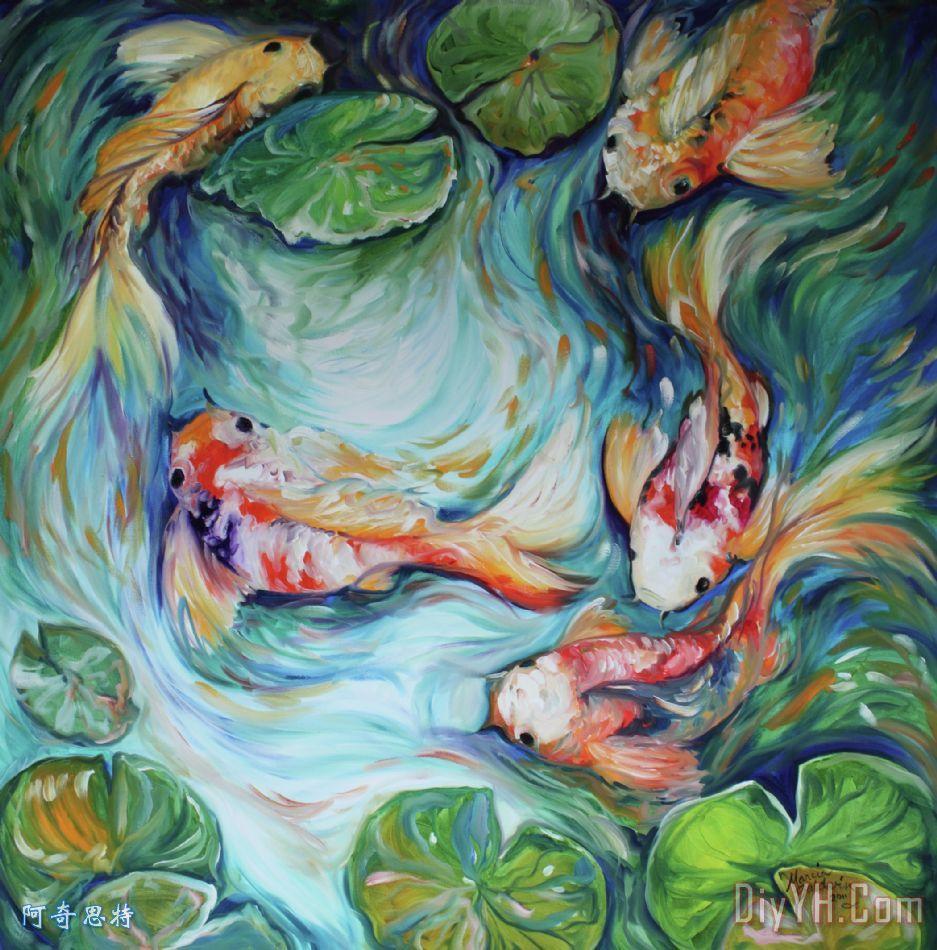 舞动的颜色锦鲤二装饰画_抽象_动物_绿色_蓝色_鱼_的
