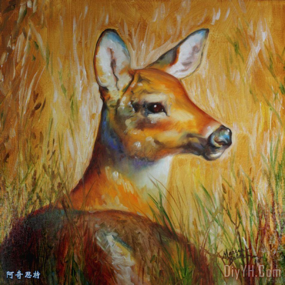 鹿动物油画图片