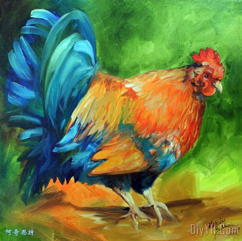 这是上午的时间装饰画_风景_动物_农场_鸡群_牲口棚
