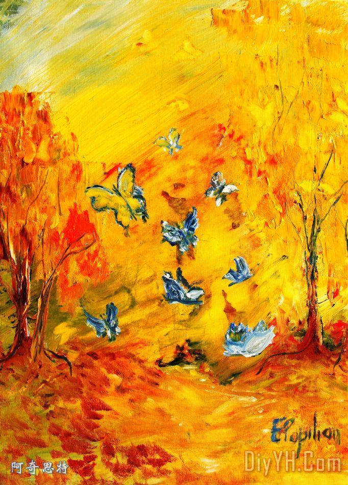秋天的蝴蝶装饰画_风景