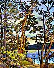 杨梅树的海岸装饰画