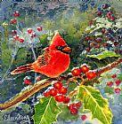 红衣主教与浆果装饰画