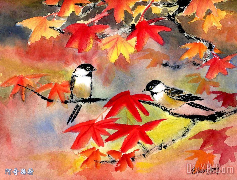 秋天的旋律装饰画_风景_动物_枫树_秋天的旋律油画