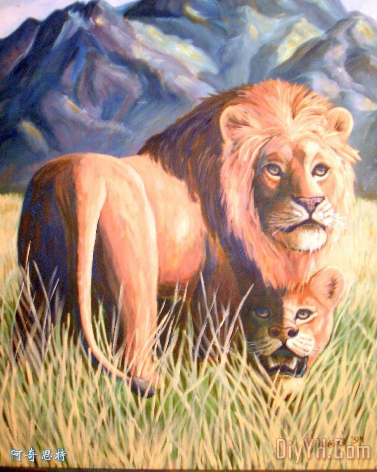 在狮子时间装饰画_阴影_非洲