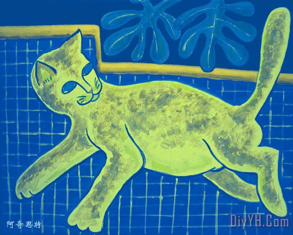 马蒂斯的猫在反向装饰画_动物_马蒂斯的猫在反向油画
