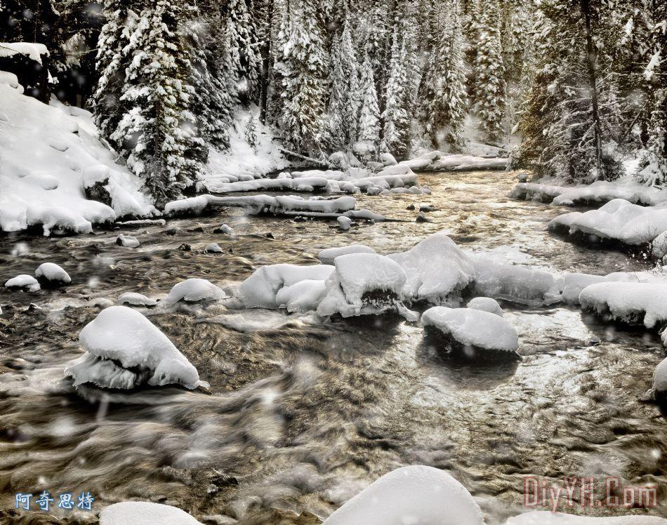 冬天的河装饰画_风景_小溪_水_雪花_冬天的河油画定制