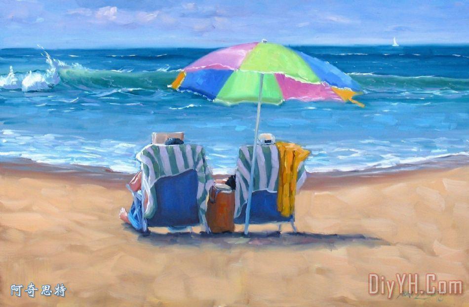 海边太阳伞 - 海边太阳伞装饰画