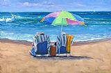 海边太阳伞人物装饰画
