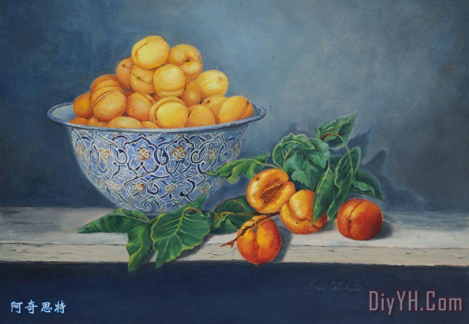 杏和桃子装饰画_静物_水果_桃树_杏树_杏和桃子油画