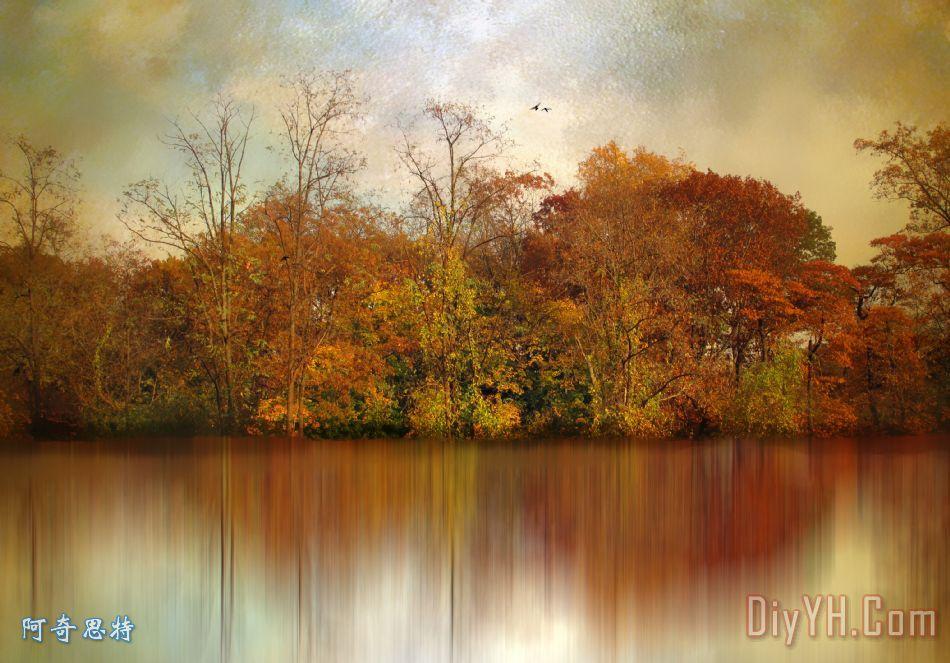 秋天的池塘装饰画_自然_映像_模糊_秋天的池塘油画