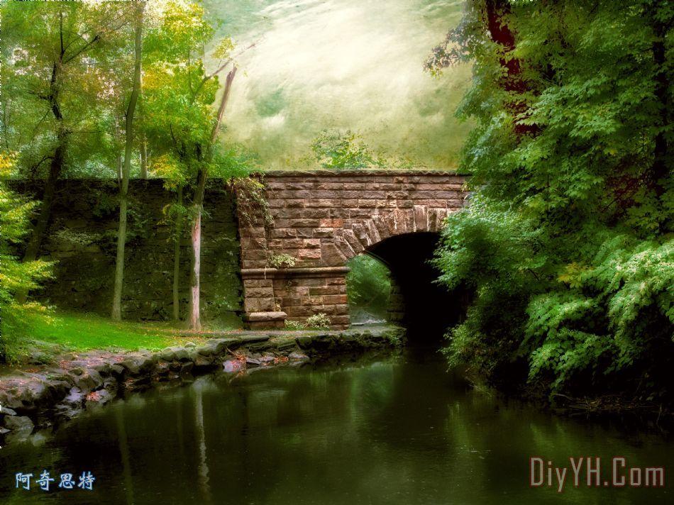 旧桥装饰画_风景_田园的,乡下的_季节性的_旧桥油画