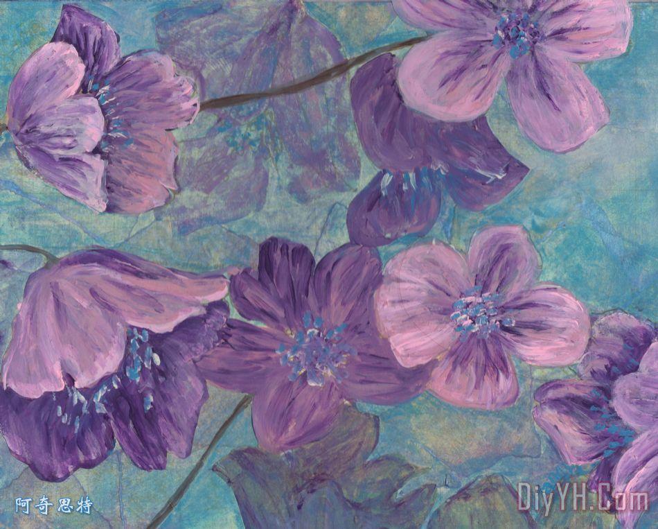 花紫色装饰画_风景_花卉_春天_花朵_花紫色油画定制