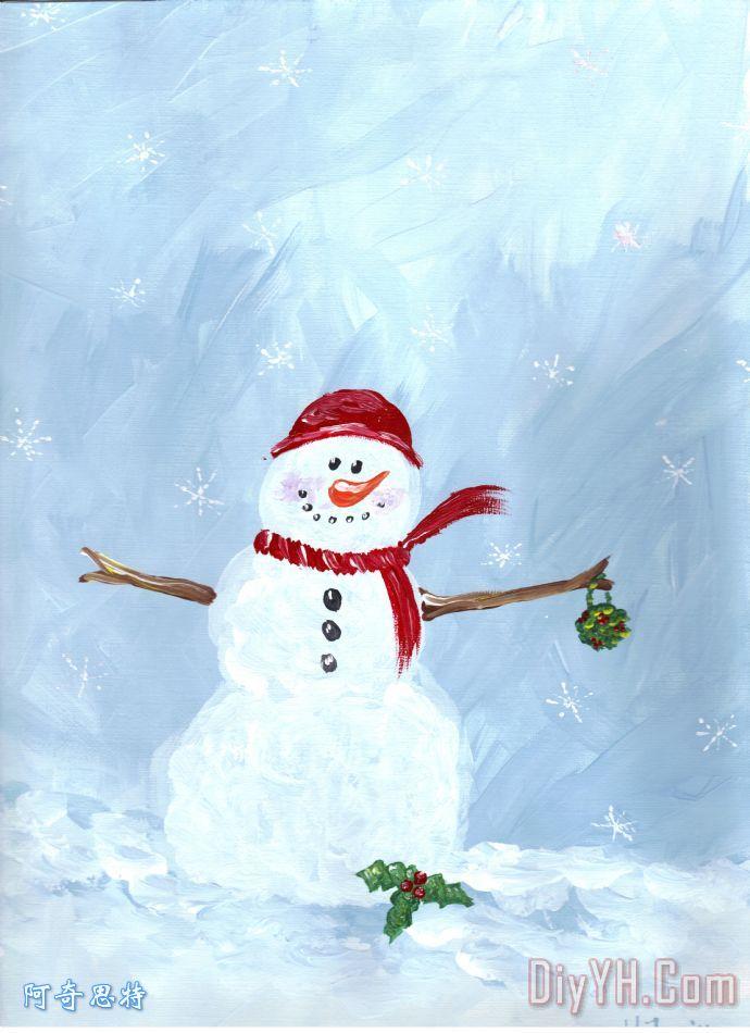 雪人装饰画_风景_冬天