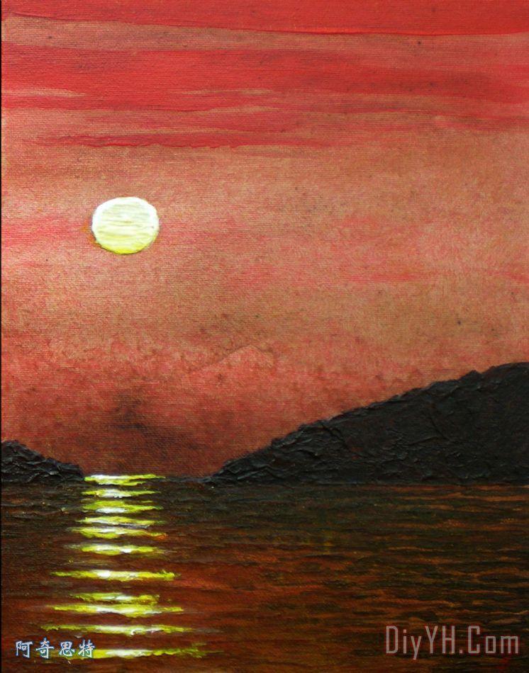 景 印象派的 晚霞 海景画 岩岛日落 右油画定制 阿奇思特