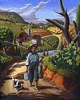 乡村景观民间艺术鱼的晚餐男孩走路的狗美洲美国农村的场景油画装饰画