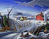 城市艺术 - 民间艺术冬季景观农场鹿童话国农场幻想美洲乡村生活场景