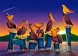 鹈鹕日落异想天开的卡通热带鸟类海景打印蓝橙紫黄装饰画