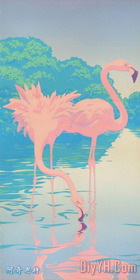粉红色的火烈鸟复古流行的新艺术风格的热带鸟类8080