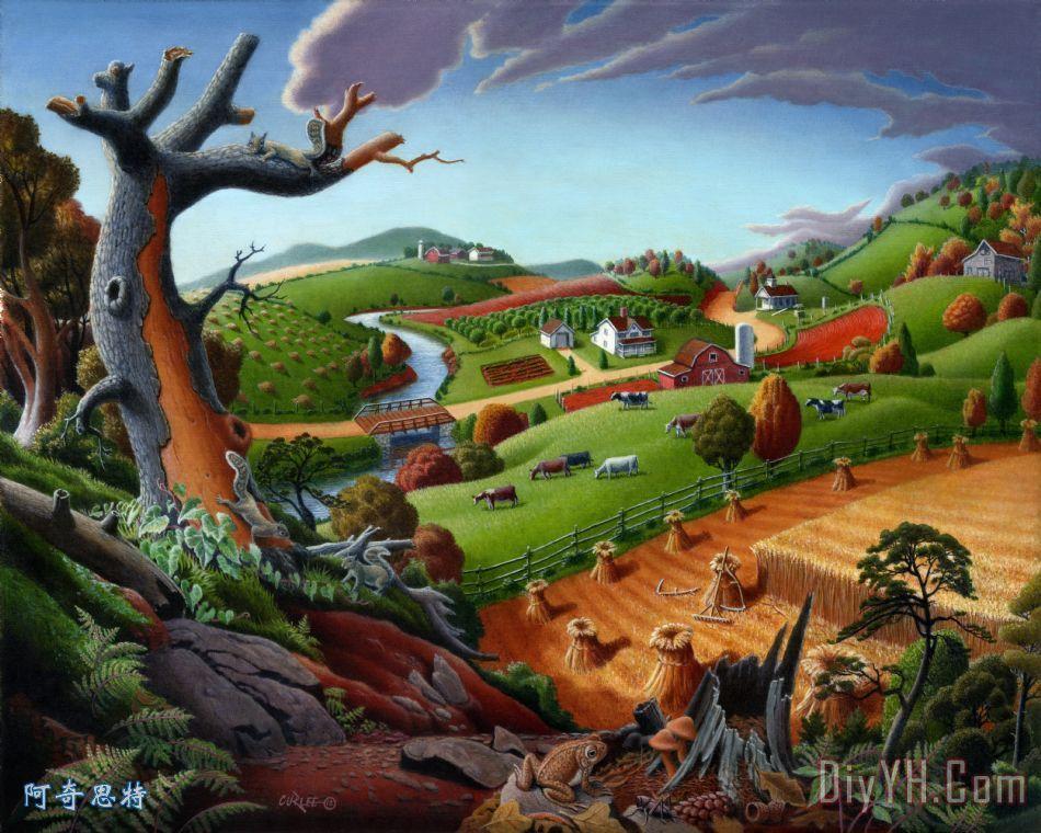 场景观民间艺术秋季麦田童话农村丰收装饰画 风景 田园的,乡下的
