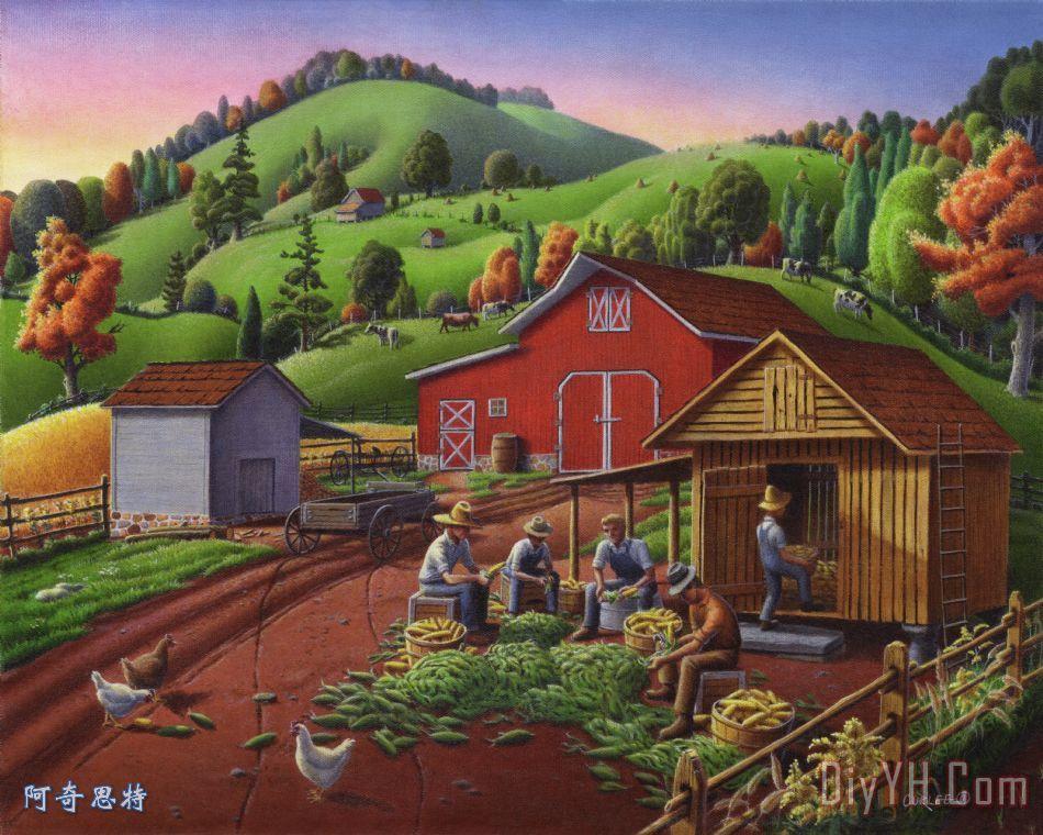 感恩节民间艺术玉米收获农场童话景观农村乡村生活美洲