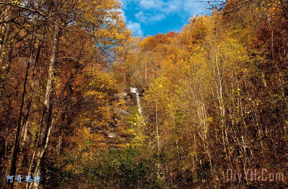 在秋季大雾山装饰画_风景_秋天_瀑布_秋天的颜色_在山