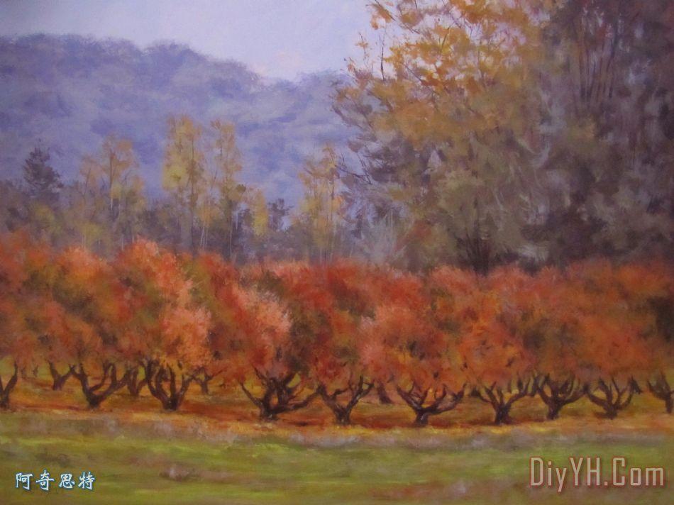 秋天的果园装饰画 风景 树木 季节 秋天的果园油画定制 阿奇思特图片