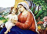 玫瑰和婴儿耶稣装饰画
