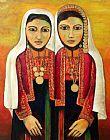 在传统的巴勒斯坦裙少女装饰画
