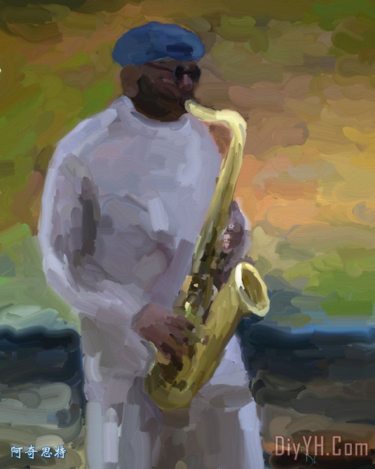 光滑的萨克斯装饰画 音乐 爵士乐 萨克斯管 蓝调 光滑的萨克斯油画定制