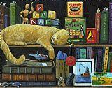 猫小睡 - 旧书油画装饰画