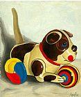 旧上链狗玩具绘画装饰画
