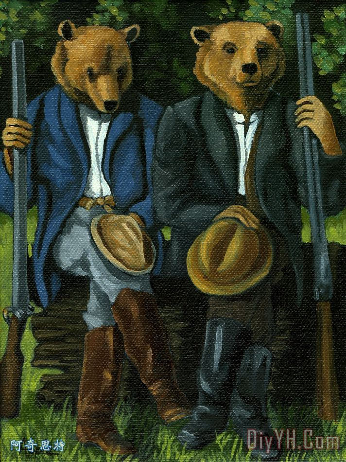 猎人 - 熊绘画 - 猎人 - 熊绘画装饰画