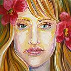 红色的鲜花在头发装饰画