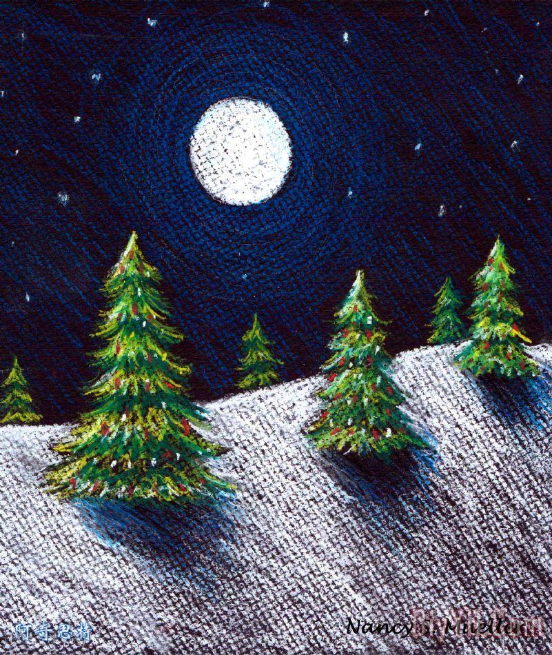 圣诞树二装饰画_月亮_假日_圣诞节_彩色粉笔画_圣诞树