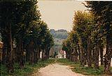 在法国里昂绿树成荫的途径装饰画