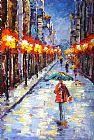 街景抽象画人物装饰画