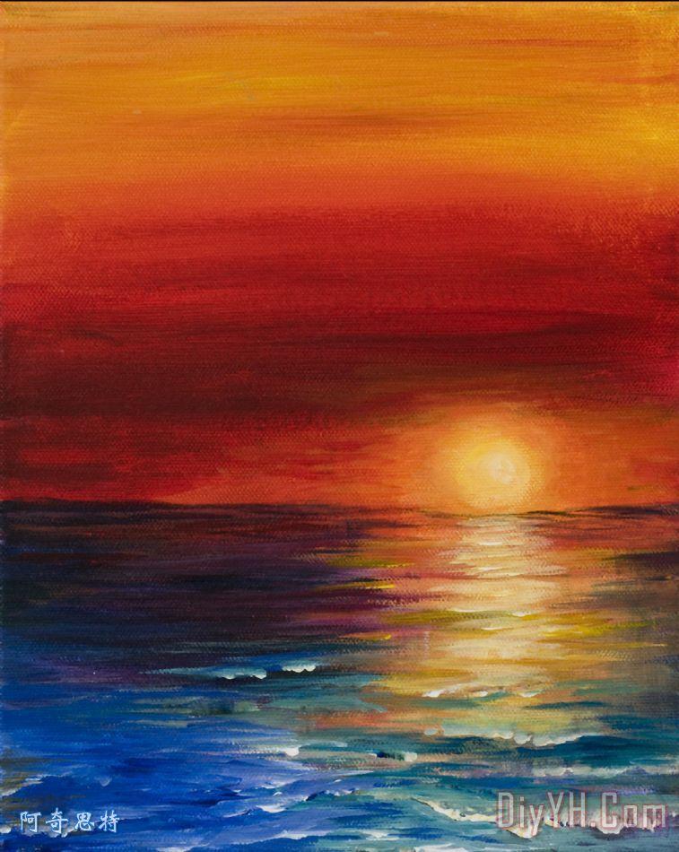 地中海日落装饰画_风景_海景_晚霞_海洋_希腊的_图片