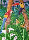 在丛林中动物油画