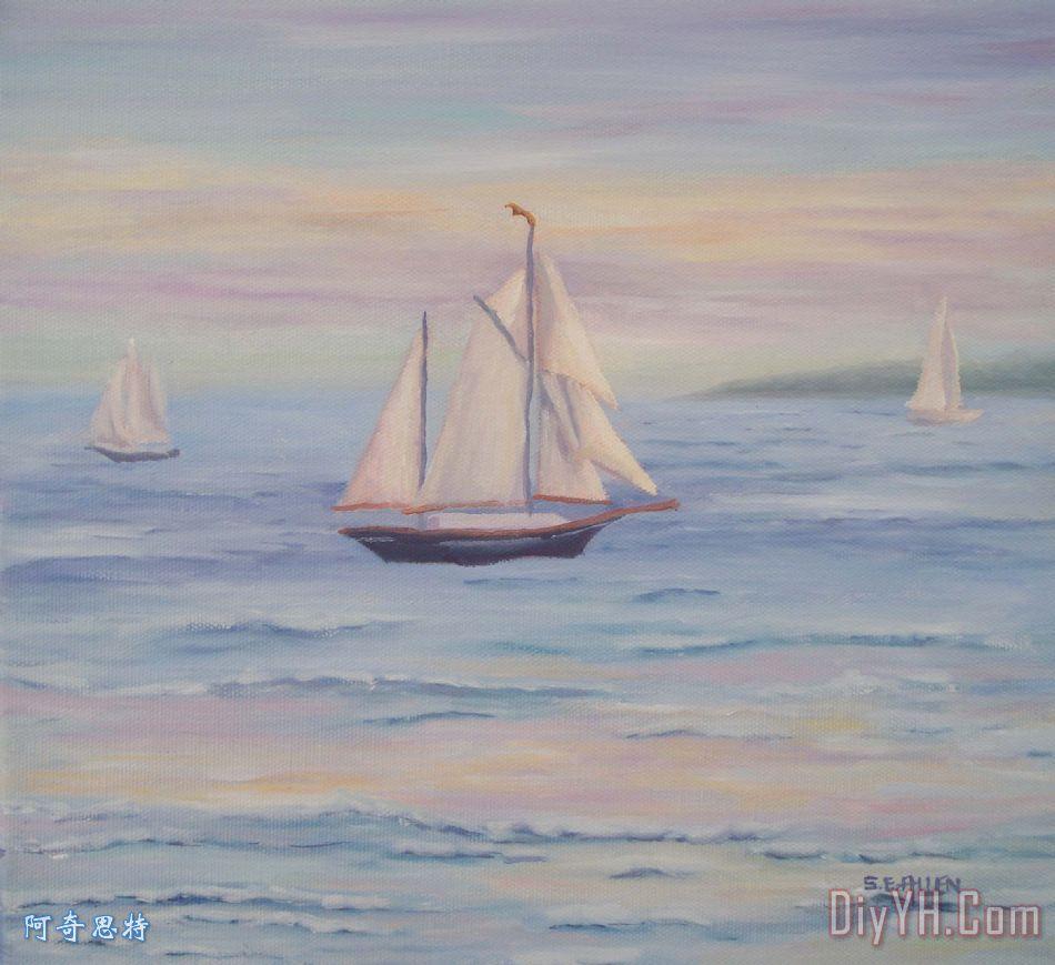 风景 海景 晚霞 海景画 帆船 暮光之城赛欧油画定制 阿奇思特