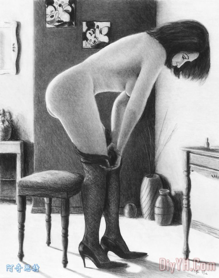 尼龙袜装饰画_黑白_木炭