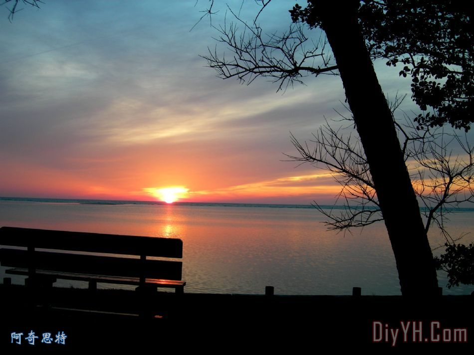 夕阳和长凳装饰画_风景_树_水_晚霞_图片大全_阿奇思特