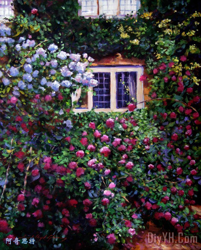 英庄园别墅玫瑰装饰画_风景_花卉_印象_玫瑰花_花朵