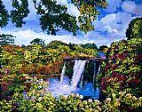 夏威夷瀑布仙境花卉装饰画